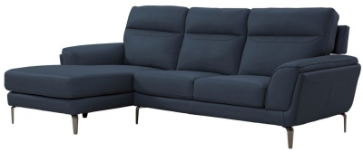 Vida Living Vitalia Indigo Leather Left Hand Facing Corner Sofa