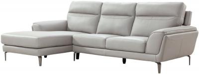 Vida Living Vitalia Grey Leather Left Hand Facing Corner Group Sofa