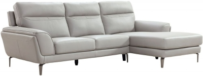 Vida Living Vitalia Light Grey Leather Right Hand Facing Corner Sofa