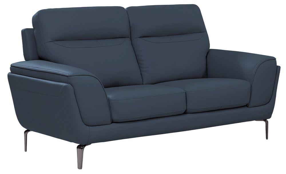 Vida Living Vitalia Indigo Leather 2 Seater Sofa