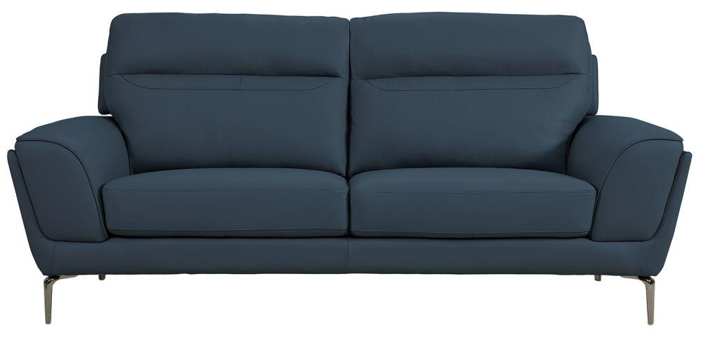 Vida Living Vitalia Indigo Leather 3 Seater Sofa