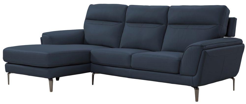 Vida Living Vitalia Indigo Leather Left Hand Facing Corner Sofa
