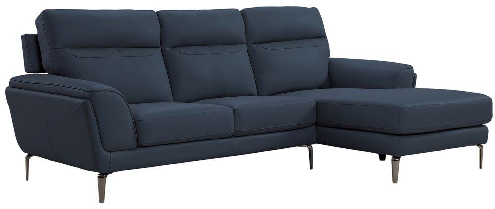 Vida Living Vitalia Indigo Leather Right Hand Facing Corner Sofa