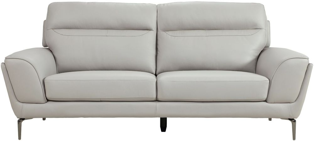 Vida Living Vitalia Grey Leather 3 Seater Sofa