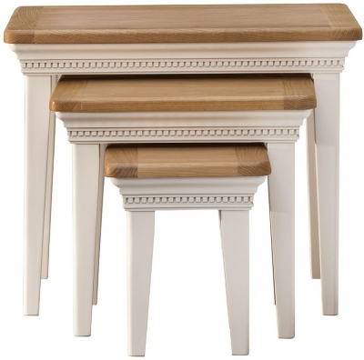 Vida Living Winchester Nest Of 3 Tables - Oak and Silver Birch