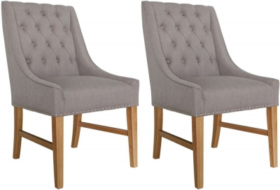 Vida Living Winchester Truffle Linen Fabric Dining Chair (Pair)