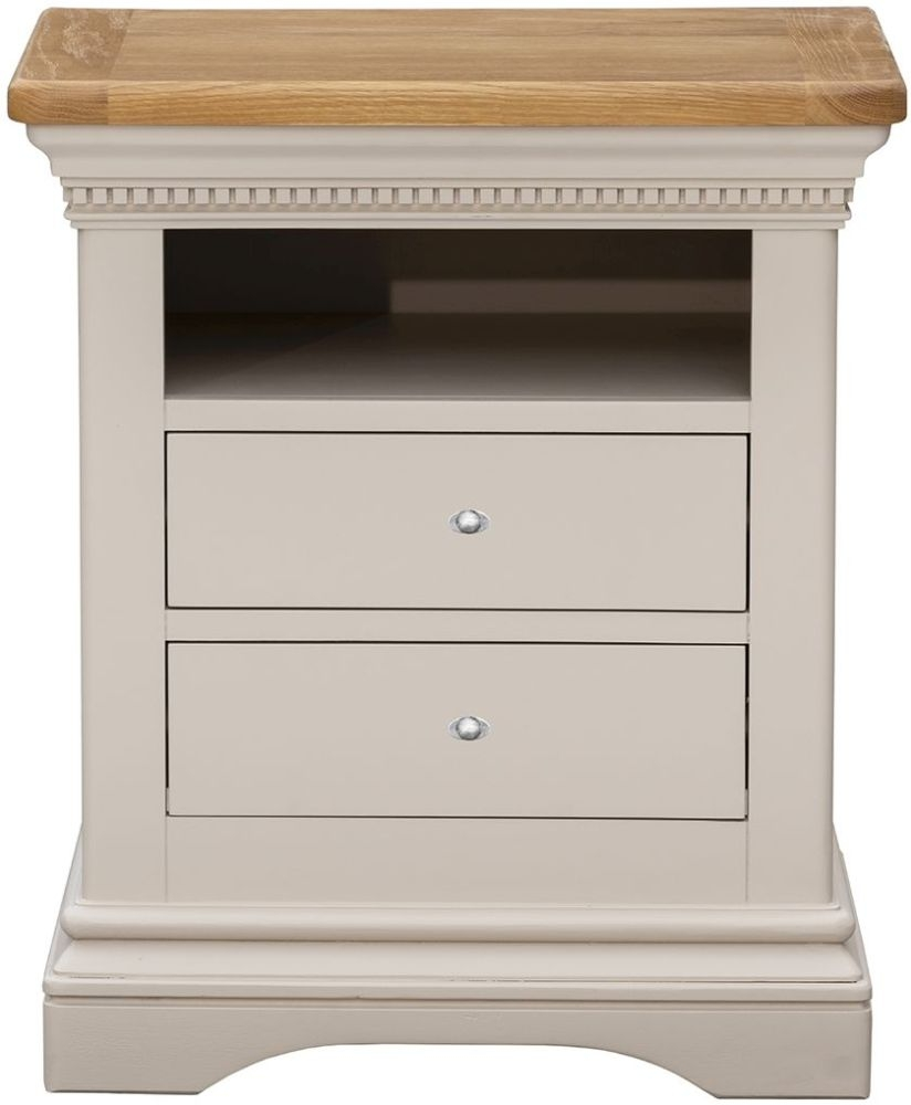 Vida Living Winchester Bedside Cabinet - Oak and Silver Birch