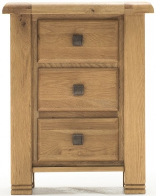 Vida Living York Oak 3 Drawer Bedside Cabinet