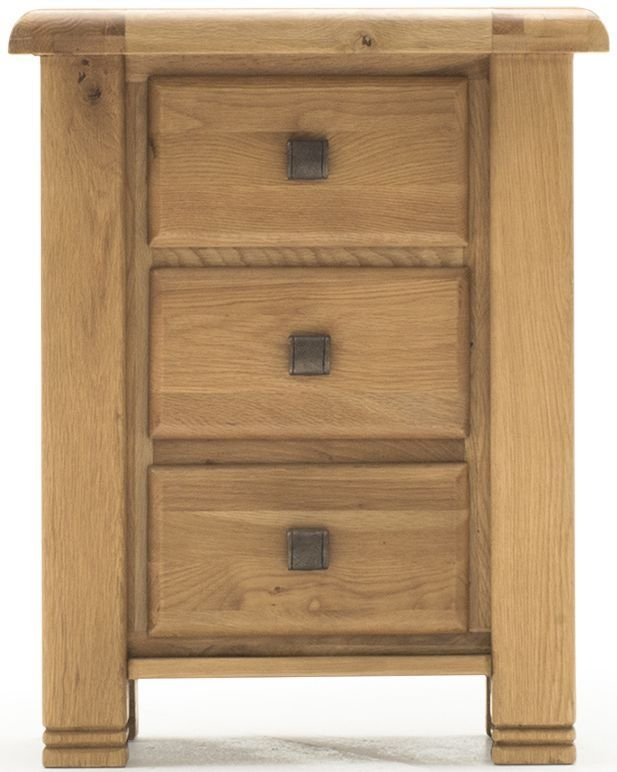 Vida Living York Oak Bedside Cabinet - 3 Drawer
