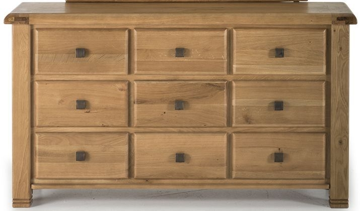 Vida Living York Oak 9 Drawer Dressing Chest