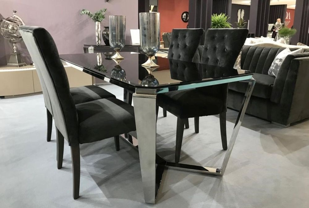 Vida Living Zola Glass Dining Table and Chairs - Chrome and Charcoal Velvet