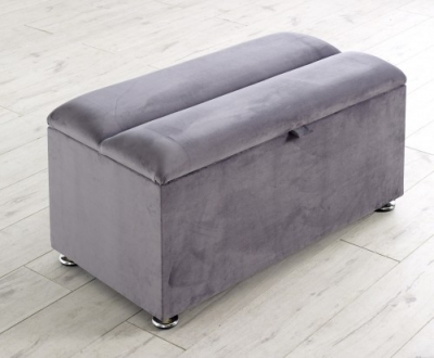Vogue Chester Metal Plush Velour Fabric Blanket Box