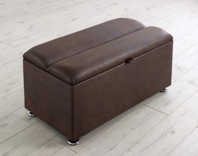 Vogue Chester Mocha Faux Leather Blanket Box