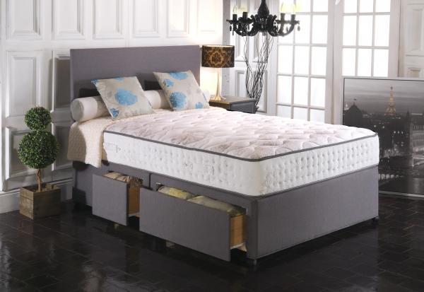 Vogue Blu Cool Memory Foam Windsor 2000 Pocket Spring Platform Top Fabric Divan Bed