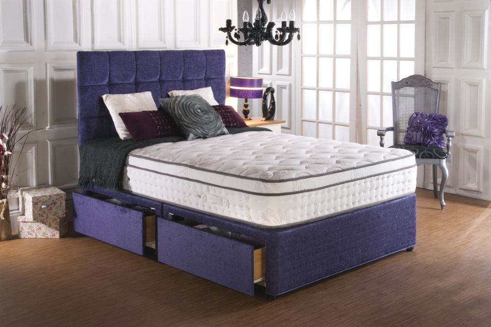 Vogue Blu Cool Memory Foam 70 Backcare 2000 Pocket springs Fabric Divan Bed