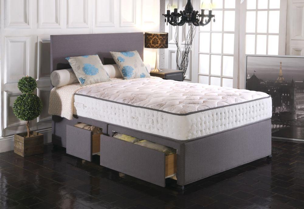 Vogue Blu Cool Memory Foam 70 Comfort 1500 Pocket springs Fabric Divan Bed
