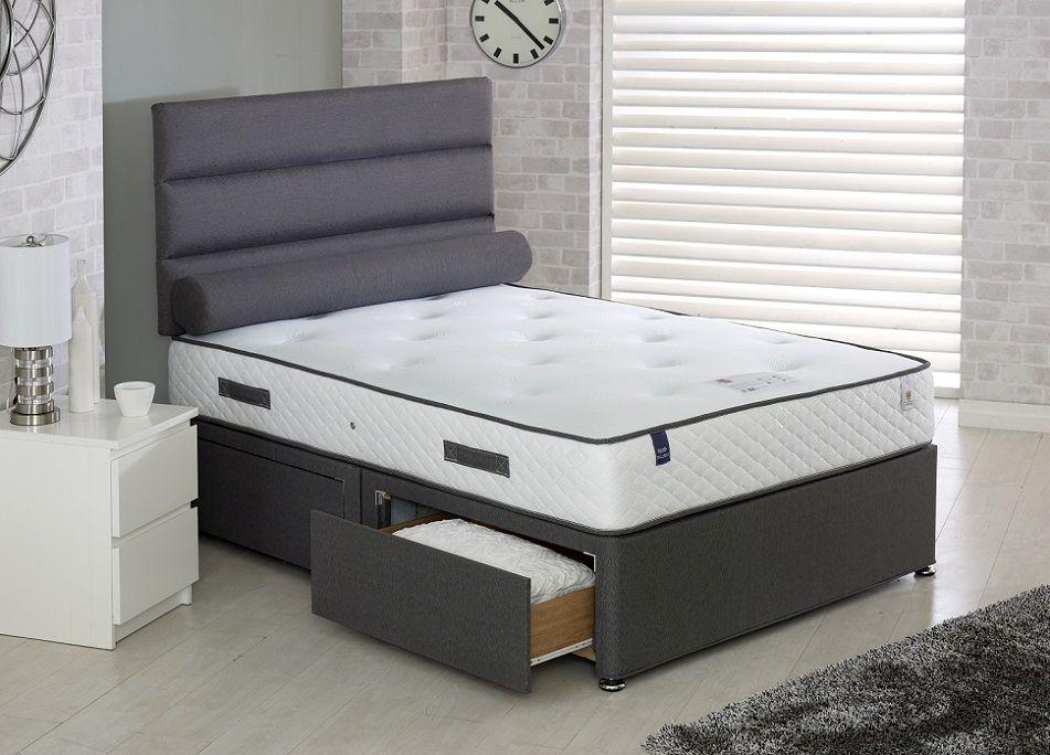 Vogue Blu Cool Memory Foam Countess 1000 Pocket Spring Platform Top Fabric Divan Bed