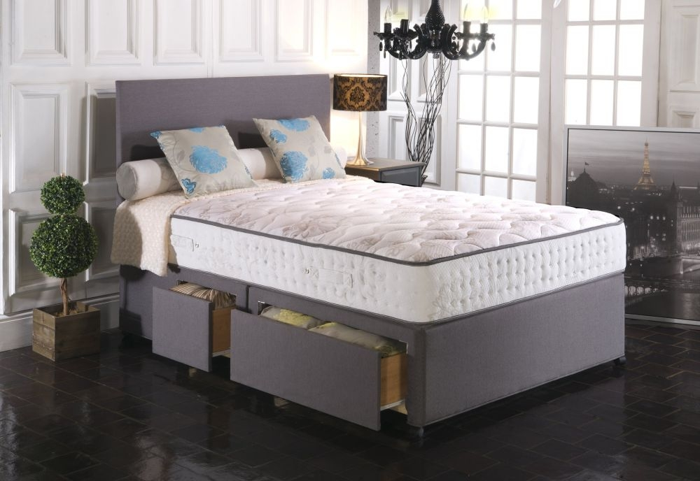 Vogue Blu Cool Memory Foam Empress 2000 Pocket Spring Platform Top Fabric Divan Bed