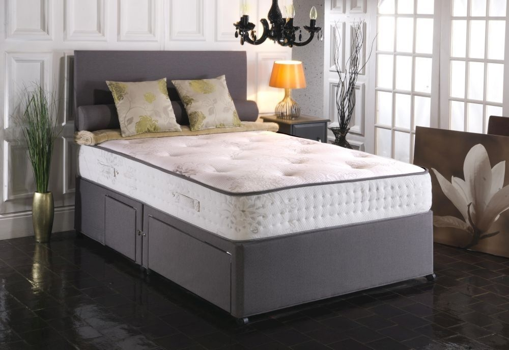 Vogue Blu Cool Memory Foam Windsor 1000 Pocket Spring Platform Top Fabric Divan Bed