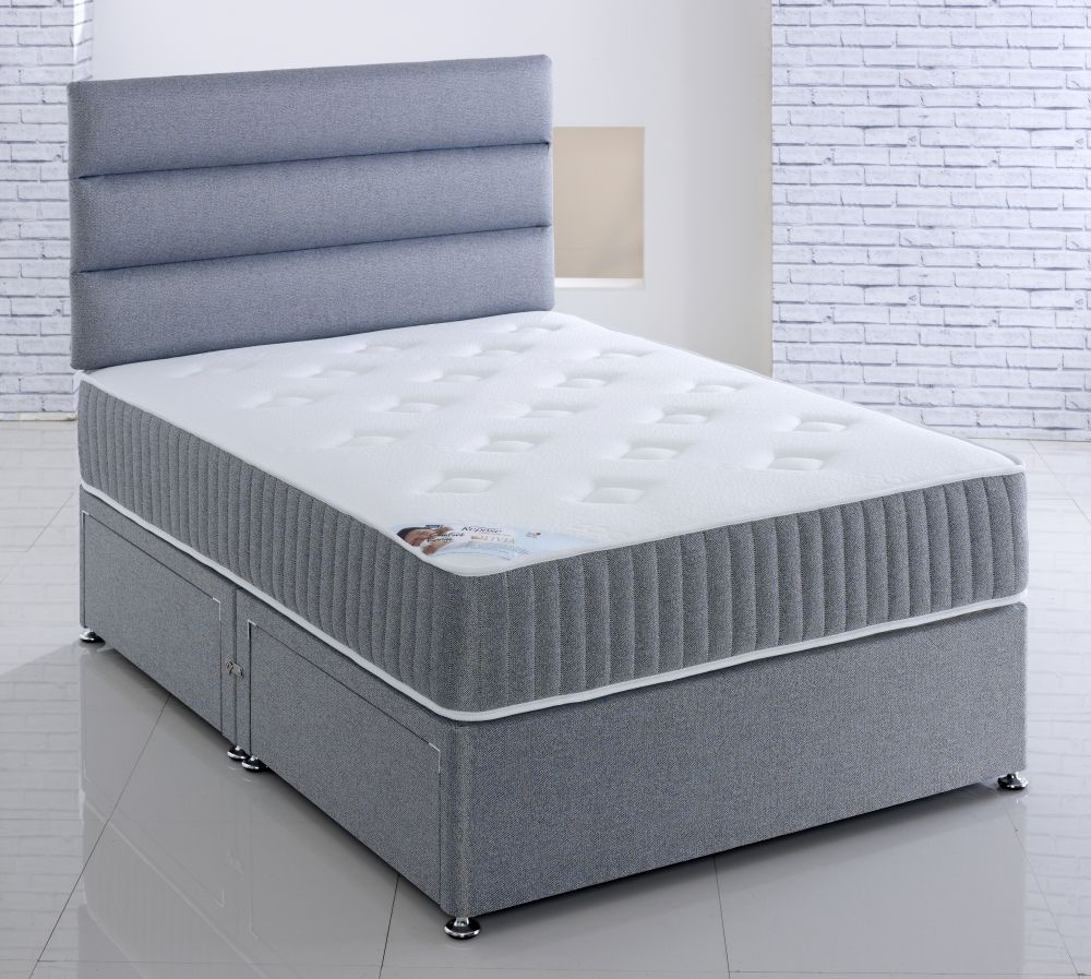Buy vogue comfort olivia fabric divan bed online cfs uk for The range divan beds