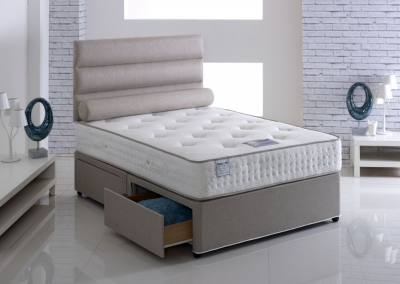 Vogue Talalay Latex Comfort Open Coil Fabric Divan Bed with Natural Touch