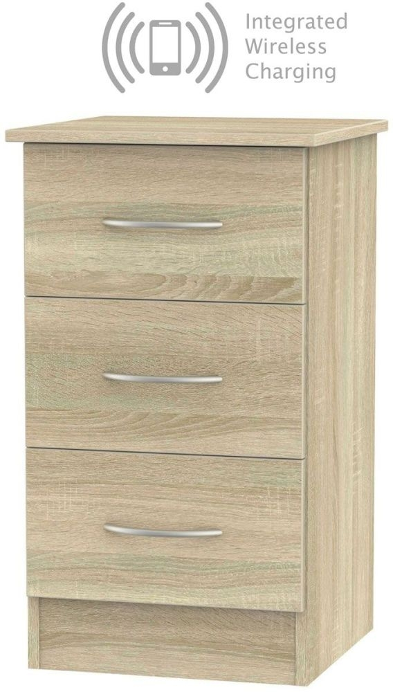 Avon Bardolino 3 Drawer Bedside Cabinet with Integrated Wireless Charging