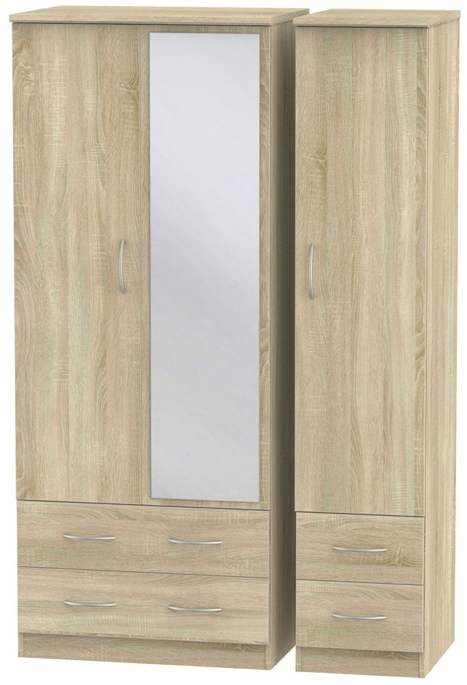 Avon Bardolino 3 Door 4 Drawer Mirror Triple Wardrobe