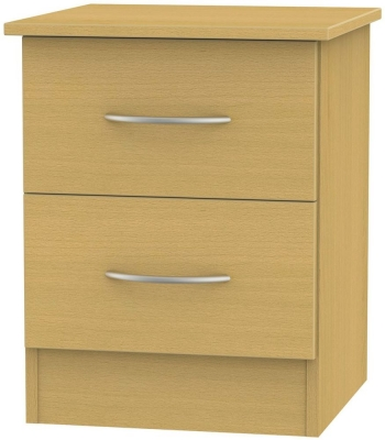 Avon Beech Bedside Cabinet - 2 Drawer Locker