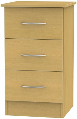 Avon Beech Bedside Cabinet - 3 Drawer Locker