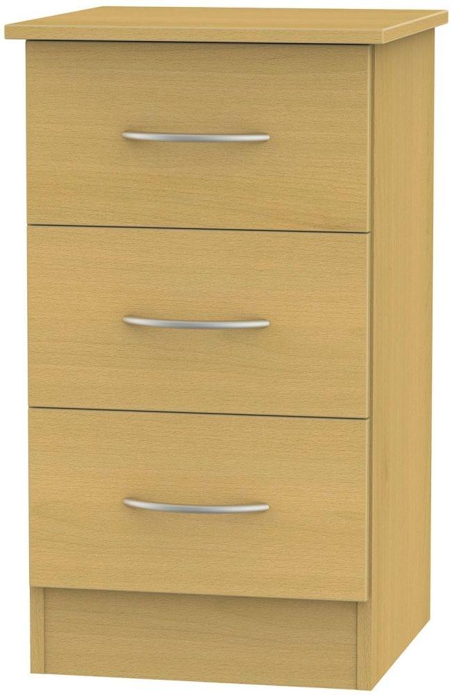 Avon Beech Bedside Cabinet - 3 Drawer Locker