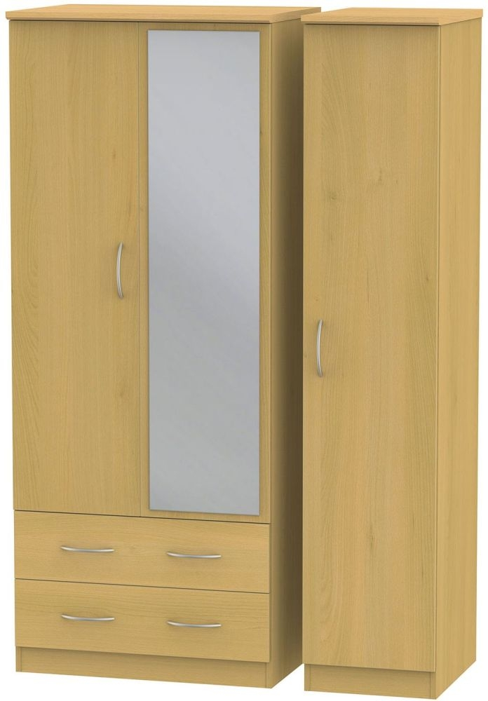 Avon Beech Triple Wardrobe - 2 Drawer with Mirror