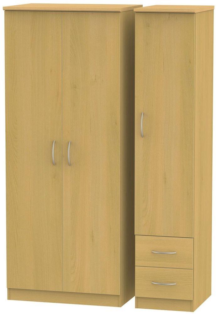 Avon Beech Triple Wardrobe with 2 Drawer