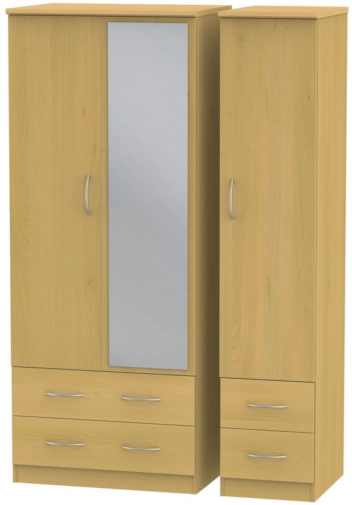 Avon Beech Triple Wardrobe with Drawer and Mirror