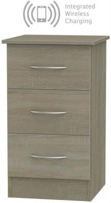 Avon Darkolino 3 Drawer Bedside Cabinet with Integrated Wireless Charging