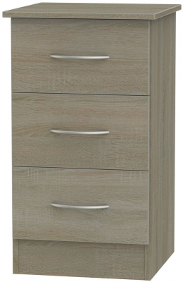 Avon Darkolino Bedside Cabinet - 3 Drawer Locker