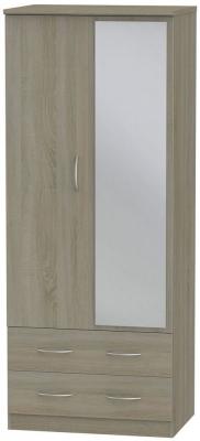 Avon Darkolino Wardrobe - 2ft 6in with 2 Drawer and Mirror