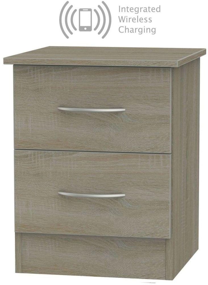 Avon Darkolino 2 Drawer Bedside Cabinet with Integrated Wireless Charging