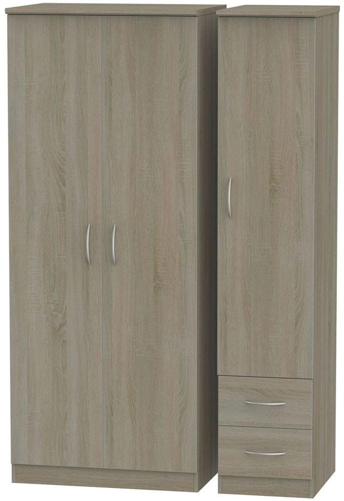 Avon Darkolino Triple Wardrobe with 2 Drawer