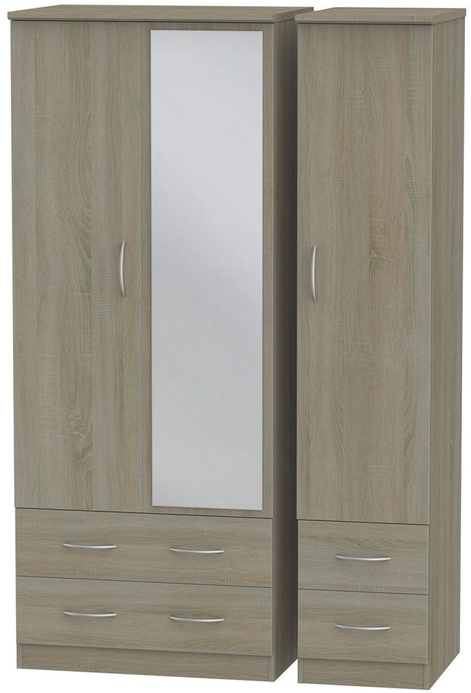 Avon Darkolino Triple Wardrobe with Drawer and Mirror