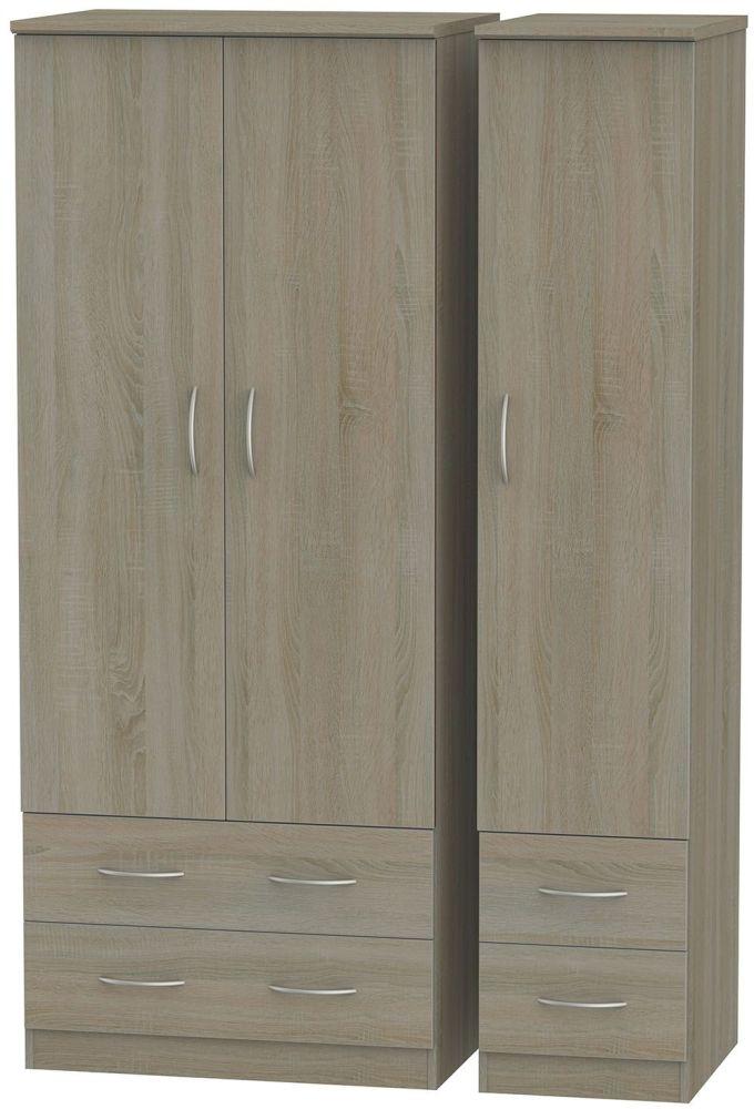 Avon Darkolino 3 Door 4 Drawer Triple Wardrobe