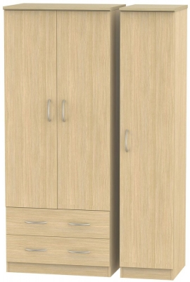 Avon Light Oak Triple Wardrobe - 2 Drawer
