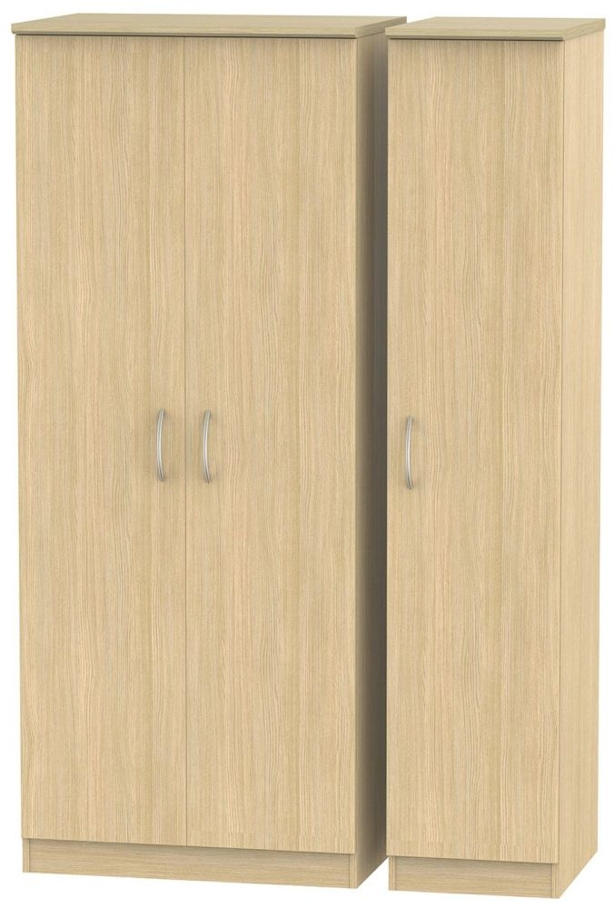 Avon Light Oak 3 Door Plain Triple Wardrobe