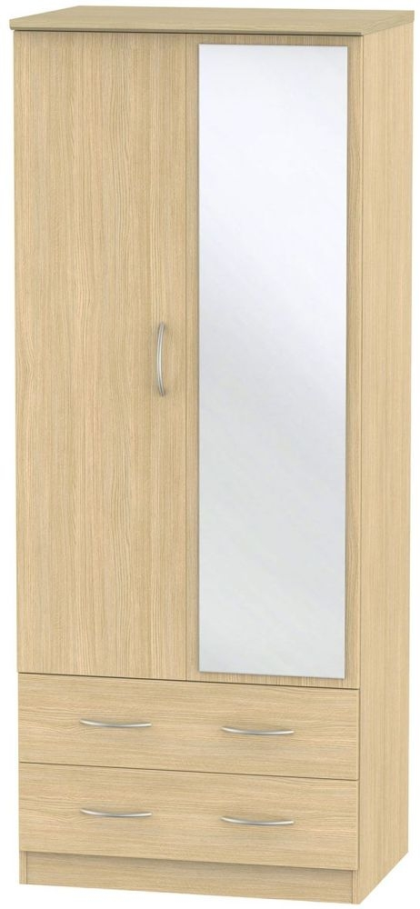 Avon Light Oak Wardrobe - 2ft 6in with 2 Drawer and Mirror