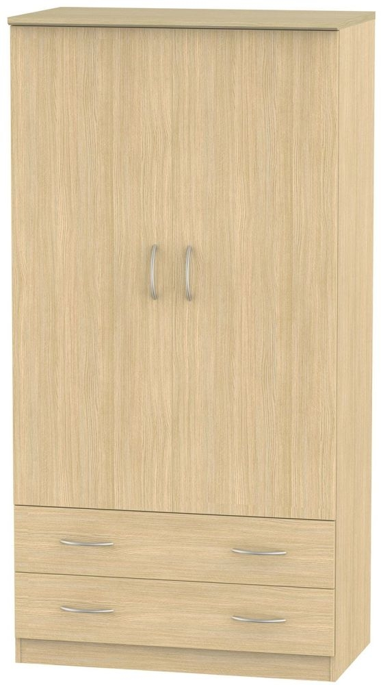 Avon Light Oak 2 Door 2 Drawer Double Wardrobe