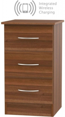 Avon Noche Walnut 3 Drawer Bedside Cabinet with Integrated Wireless Charging