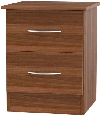 Avon Noche Walnut Bedside Cabinet - 2 Drawer Locker