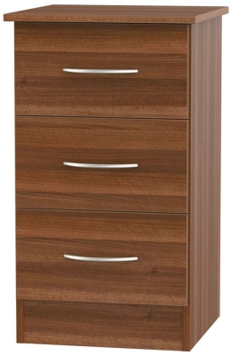 Avon Noche Walnut Bedside Cabinet - 3 Drawer Locker