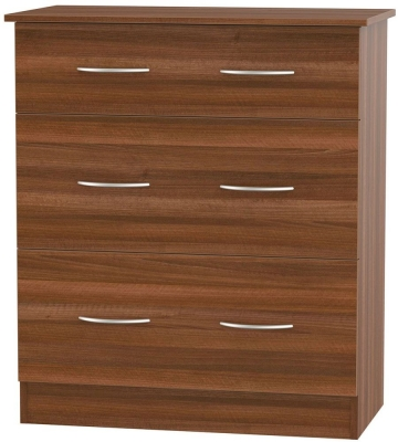 Avon Noche Walnut Chest of Drawer - 3 Drawer Deep