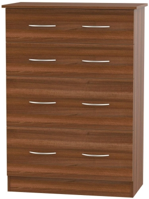 Avon Noche Walnut Chest of Drawer - 4 Drawer Deep