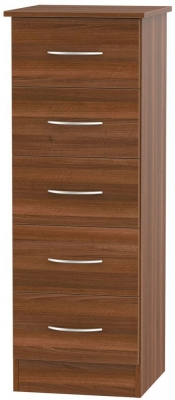 Avon Noche Walnut 5 Drawer Tall Chest